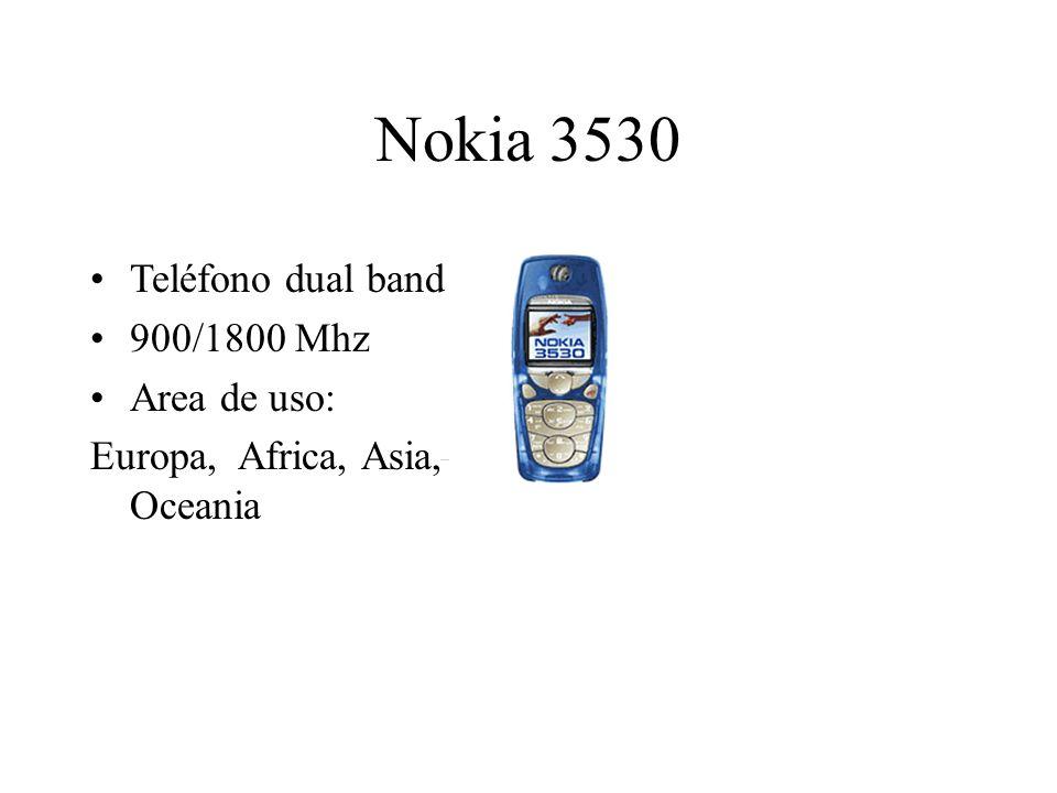 Nokia 3530 Teléfono dual band 900/1800 Mhz Area de uso: Europa, Africa, Asia, Oceania
