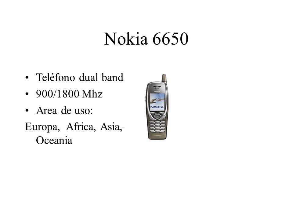 Nokia 6650 Teléfono dual band 900/1800 Mhz Area de uso: Europa, Africa, Asia, Oceania