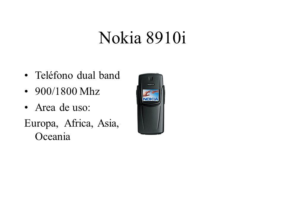 Nokia 8910i Teléfono dual band 900/1800 Mhz Area de uso: Europa, Africa, Asia, Oceania