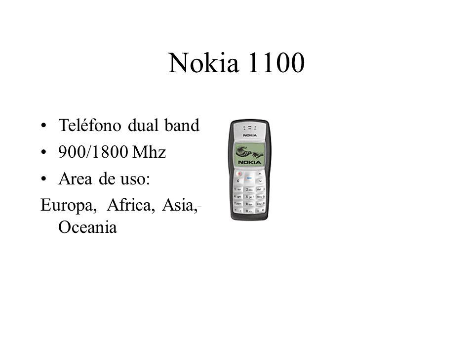 Nokia 1100 Teléfono dual band 900/1800 Mhz Area de uso: Europa, Africa, Asia, Oceania
