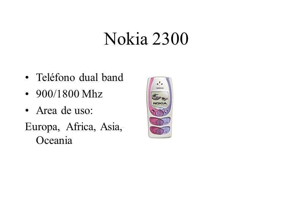 Nokia 2300 Teléfono dual band 900/1800 Mhz Area de uso: Europa, Africa, Asia, Oceania