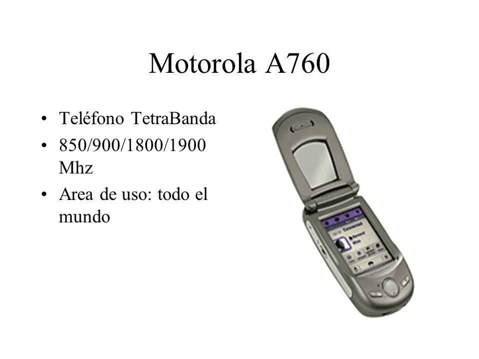 Motorola A760 Teléfono TetraBanda 850/900/1800/1900 Mhz Area de uso: todo el mundo