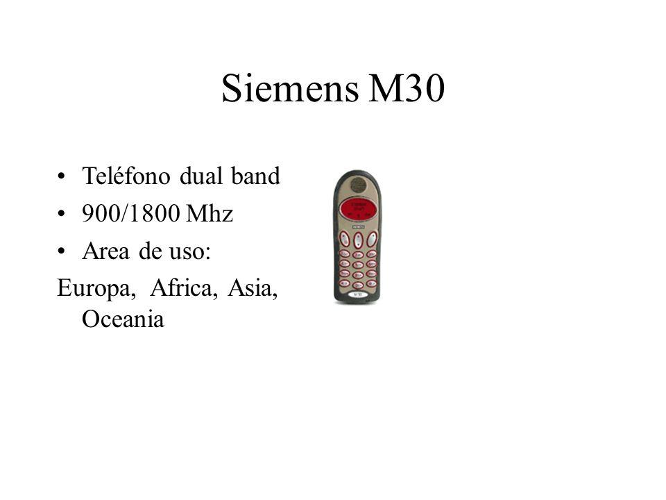 Siemens M30 Teléfono dual band 900/1800 Mhz Area de uso: Europa, Africa, Asia, Oceania