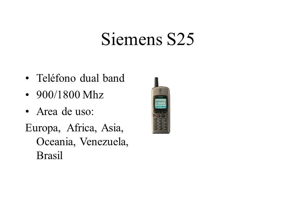 Siemens S25 Teléfono dual band 900/1800 Mhz Area de uso: Europa, Africa, Asia, Oceania, Venezuela, Brasil
