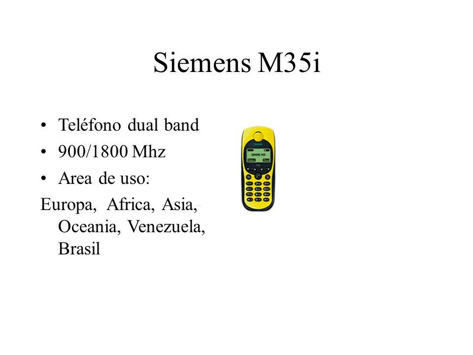 Siemens M35i Teléfono dual band 900/1800 Mhz Area de uso: Europa, Africa, Asia, Oceania, Venezuela, Brasil