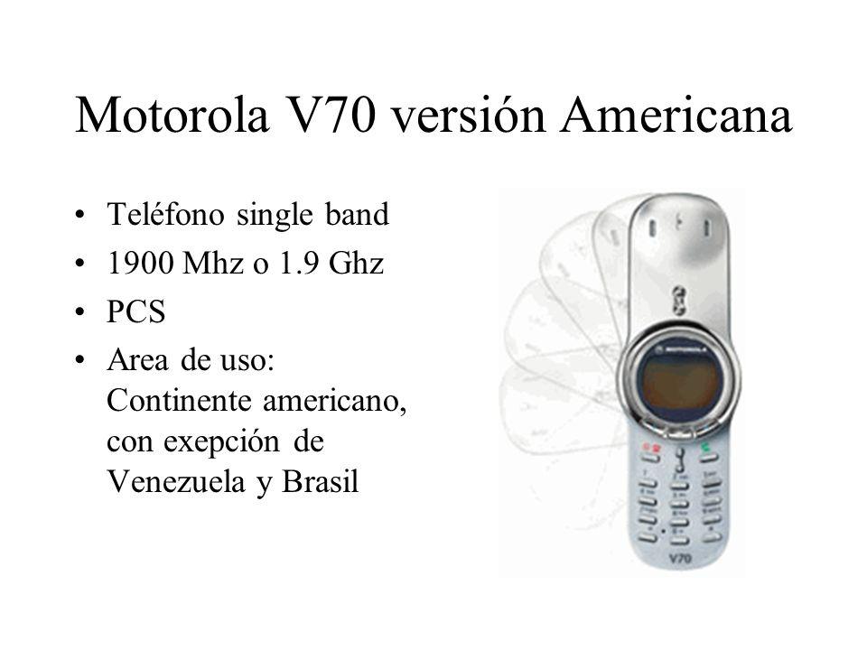 Motorola V70 versión Americana Teléfono single band 1900 Mhz o 1.9 Ghz PCS Area de uso: Continente americano, con exepción de Venezuela y Brasil