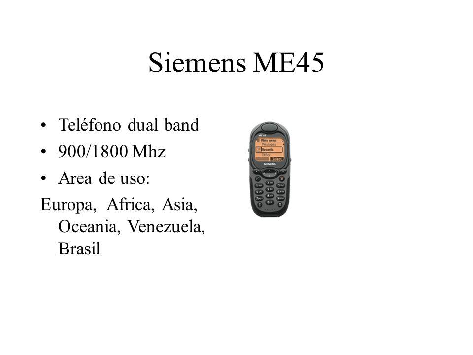Siemens ME45 Teléfono dual band 900/1800 Mhz Area de uso: Europa, Africa, Asia, Oceania, Venezuela, Brasil