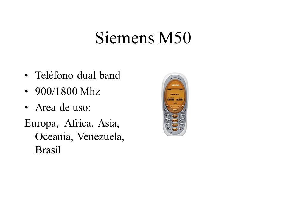 Siemens M50 Teléfono dual band 900/1800 Mhz Area de uso: Europa, Africa, Asia, Oceania, Venezuela, Brasil