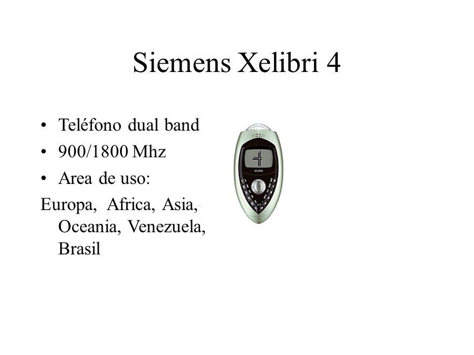 Siemens Xelibri 4 Teléfono dual band 900/1800 Mhz Area de uso: Europa, Africa, Asia, Oceania, Venezuela, Brasil