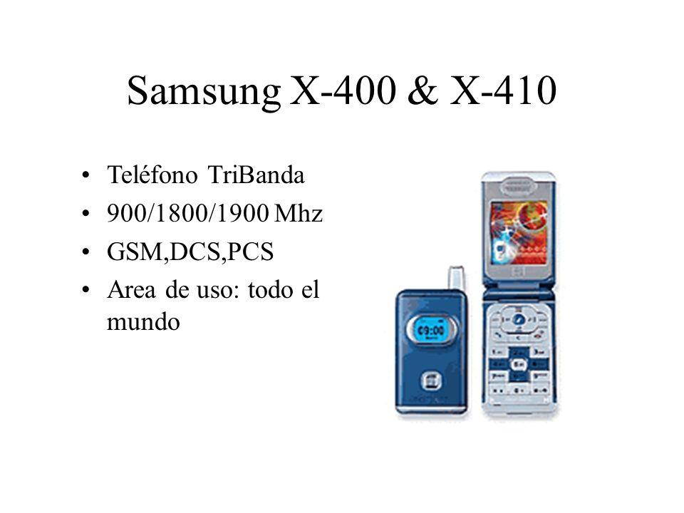 Teléfono TriBanda 900/1800/1900 Mhz GSM,DCS,PCS Area de uso: todo el mundo Samsung X-400 & X-410