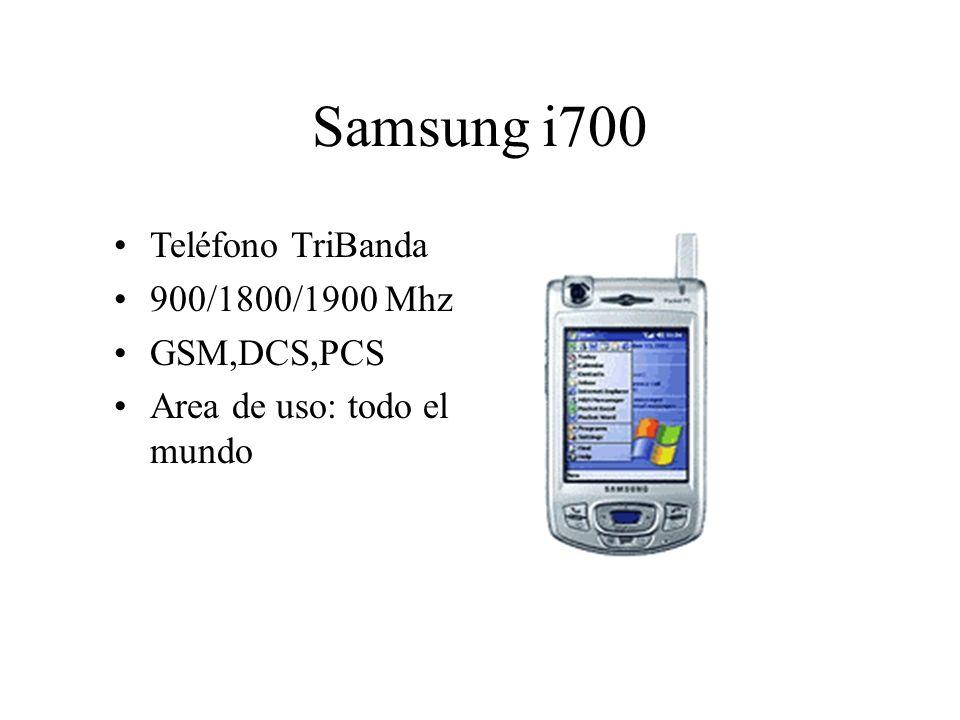 Teléfono TriBanda 900/1800/1900 Mhz GSM,DCS,PCS Area de uso: todo el mundo Samsung i700