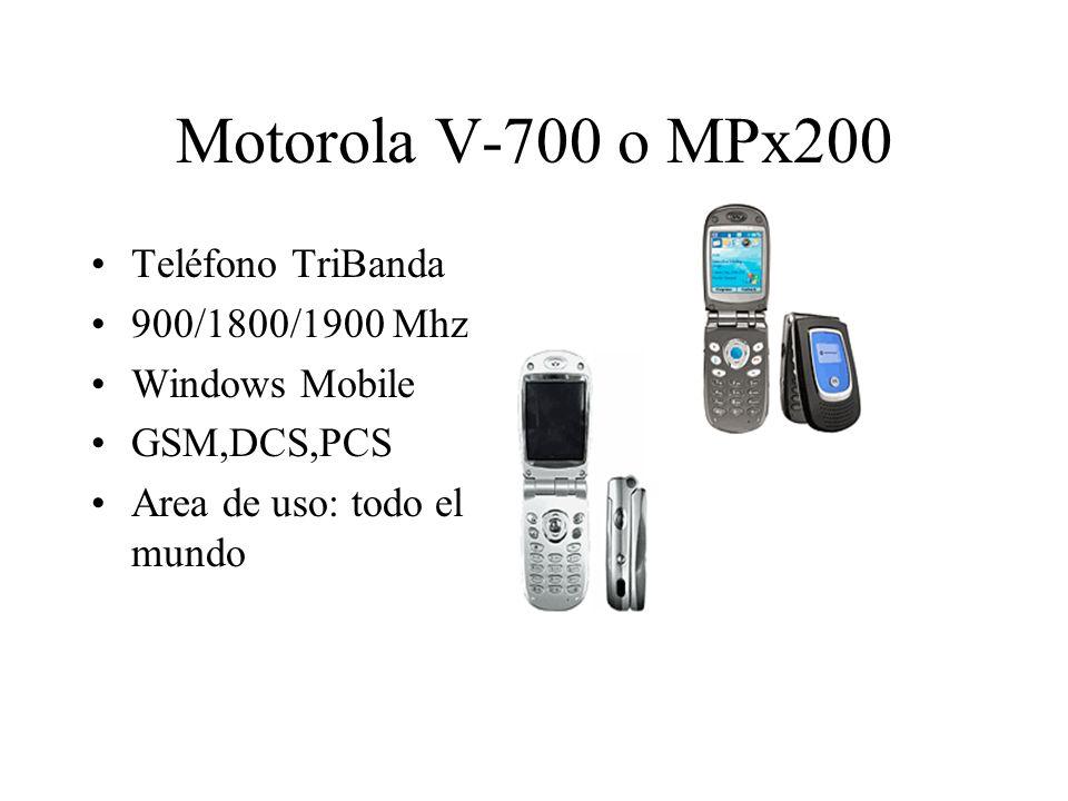 Motorola V-700 o MPx200 Teléfono TriBanda 900/1800/1900 Mhz Windows Mobile GSM,DCS,PCS Area de uso: todo el mundo