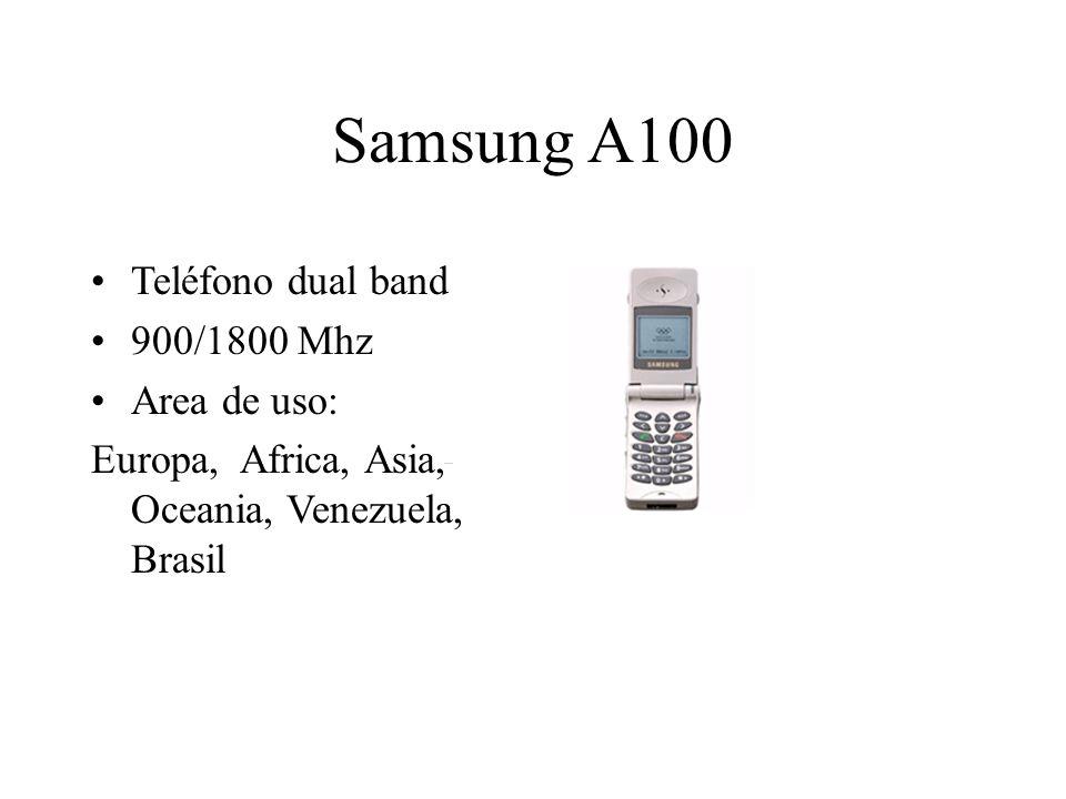 Samsung A100 Teléfono dual band 900/1800 Mhz Area de uso: Europa, Africa, Asia, Oceania, Venezuela, Brasil