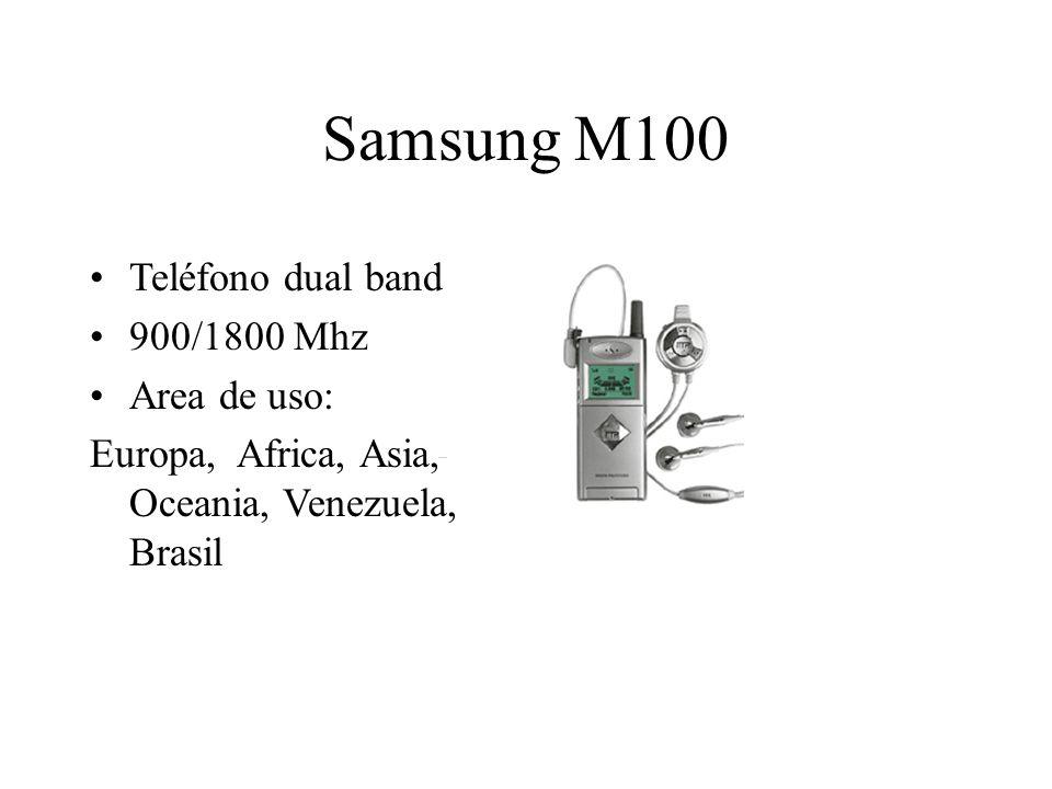 Samsung M100 Teléfono dual band 900/1800 Mhz Area de uso: Europa, Africa, Asia, Oceania, Venezuela, Brasil