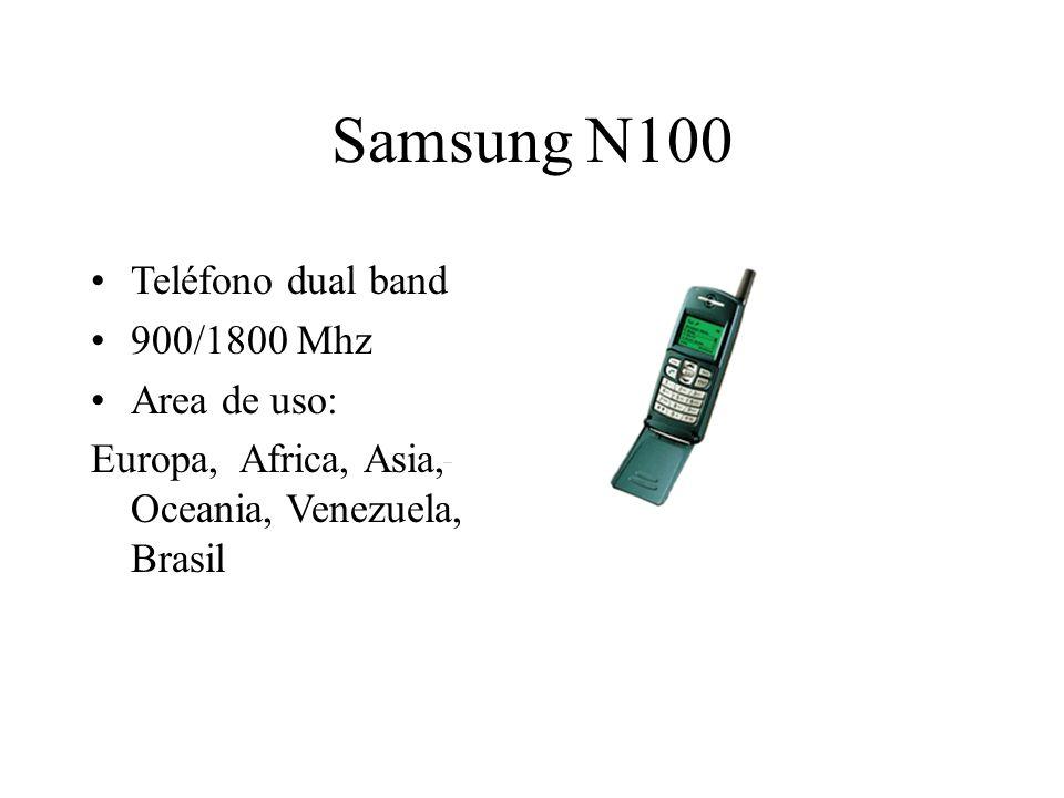 Samsung N100 Teléfono dual band 900/1800 Mhz Area de uso: Europa, Africa, Asia, Oceania, Venezuela, Brasil