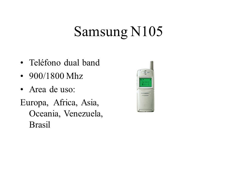 Samsung N105 Teléfono dual band 900/1800 Mhz Area de uso: Europa, Africa, Asia, Oceania, Venezuela, Brasil