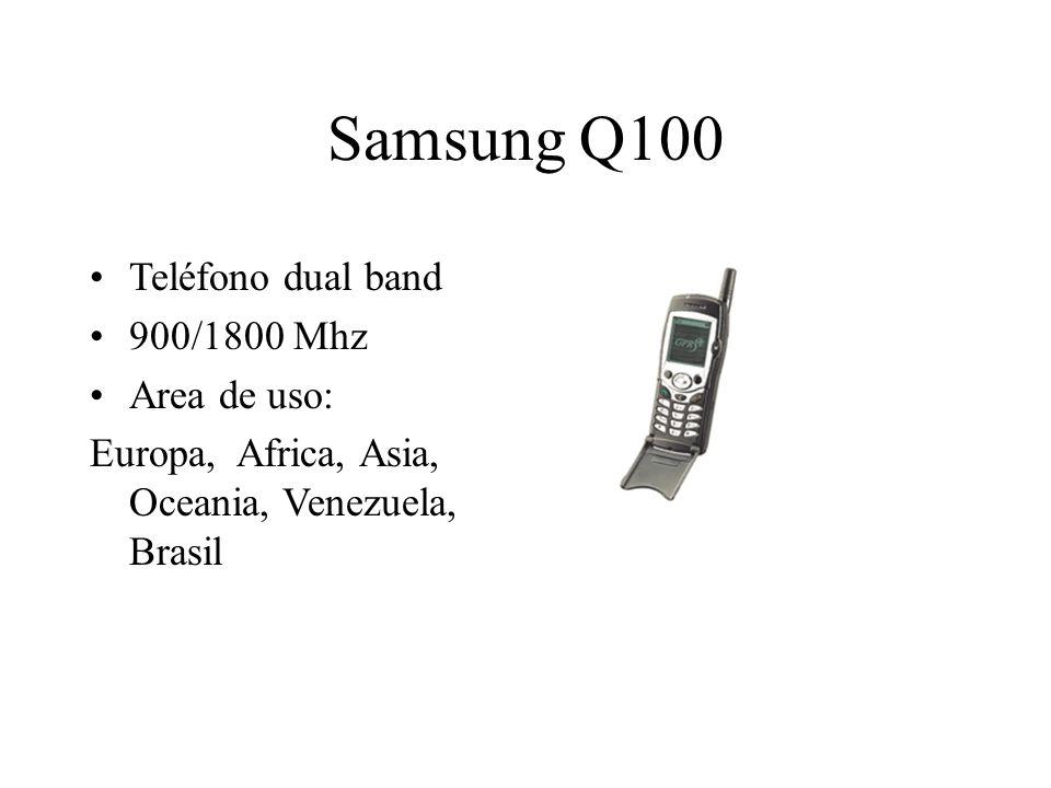 Samsung Q100 Teléfono dual band 900/1800 Mhz Area de uso: Europa, Africa, Asia, Oceania, Venezuela, Brasil
