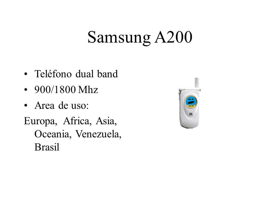 Samsung A200 Teléfono dual band 900/1800 Mhz Area de uso: Europa, Africa, Asia, Oceania, Venezuela, Brasil