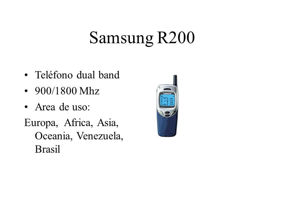 Samsung R200 Teléfono dual band 900/1800 Mhz Area de uso: Europa, Africa, Asia, Oceania, Venezuela, Brasil