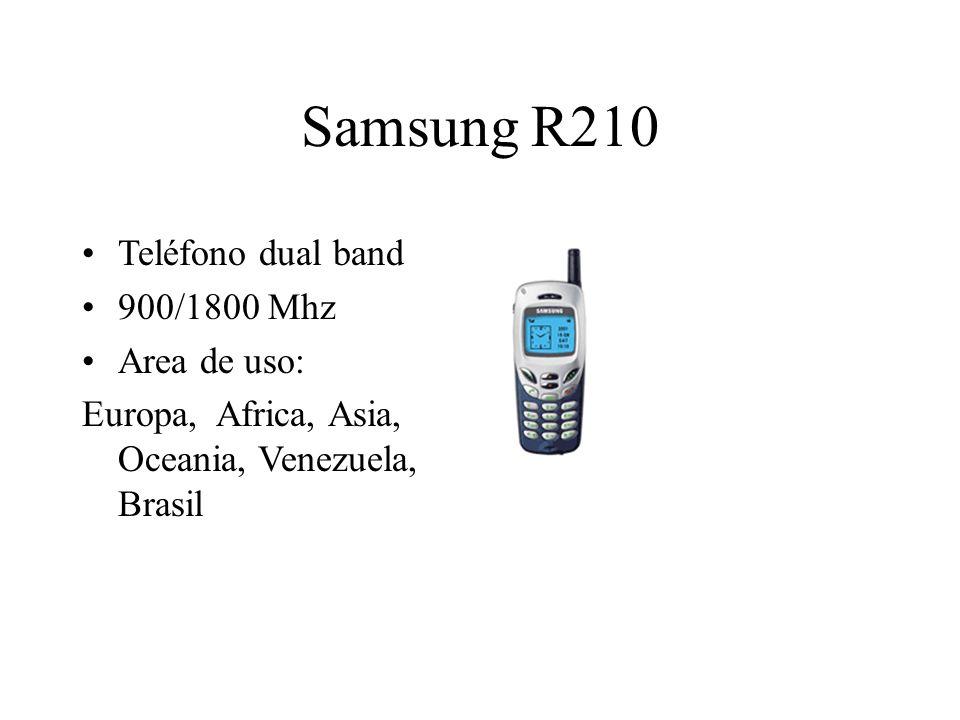 Samsung R210 Teléfono dual band 900/1800 Mhz Area de uso: Europa, Africa, Asia, Oceania, Venezuela, Brasil