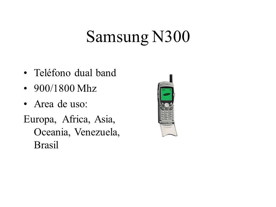 Samsung N300 Teléfono dual band 900/1800 Mhz Area de uso: Europa, Africa, Asia, Oceania, Venezuela, Brasil