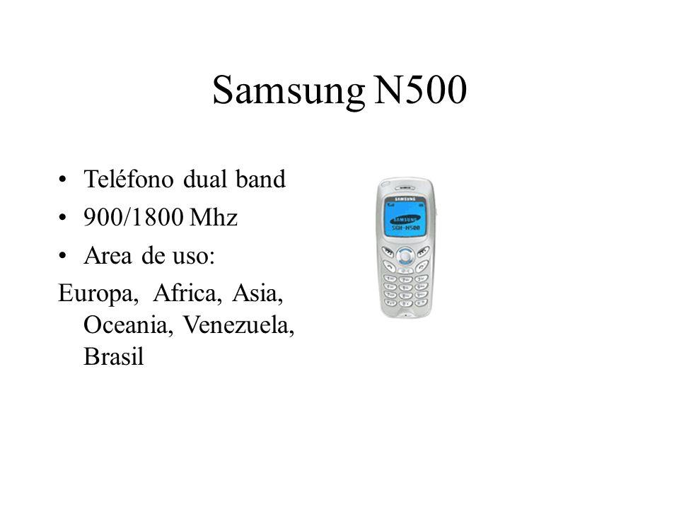 Samsung N500 Teléfono dual band 900/1800 Mhz Area de uso: Europa, Africa, Asia, Oceania, Venezuela, Brasil