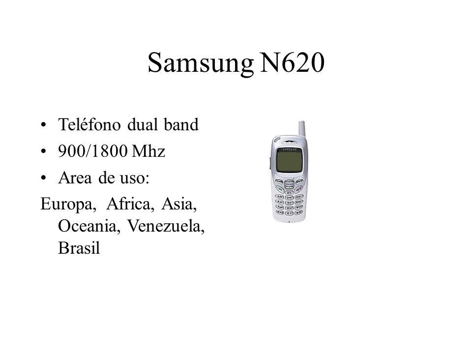 Samsung N620 Teléfono dual band 900/1800 Mhz Area de uso: Europa, Africa, Asia, Oceania, Venezuela, Brasil