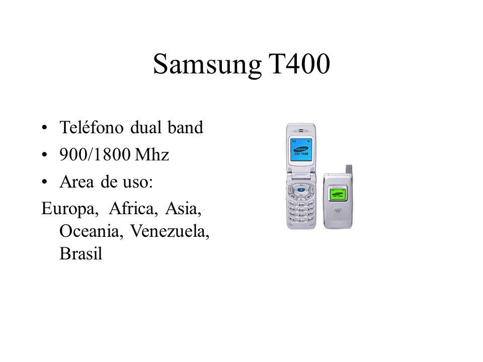 Samsung T400 Teléfono dual band 900/1800 Mhz Area de uso: Europa, Africa, Asia, Oceania, Venezuela, Brasil