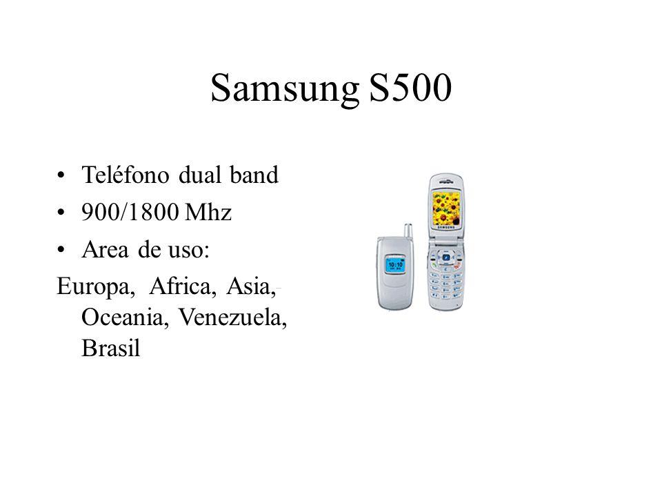 Samsung S500 Teléfono dual band 900/1800 Mhz Area de uso: Europa, Africa, Asia, Oceania, Venezuela, Brasil