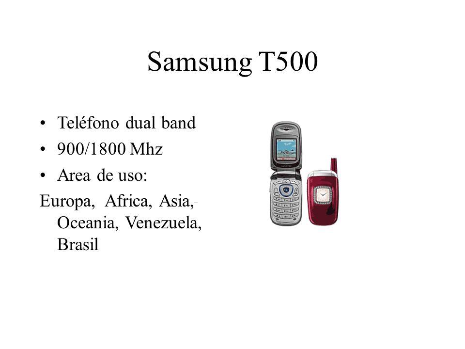 Samsung T500 Teléfono dual band 900/1800 Mhz Area de uso: Europa, Africa, Asia, Oceania, Venezuela, Brasil