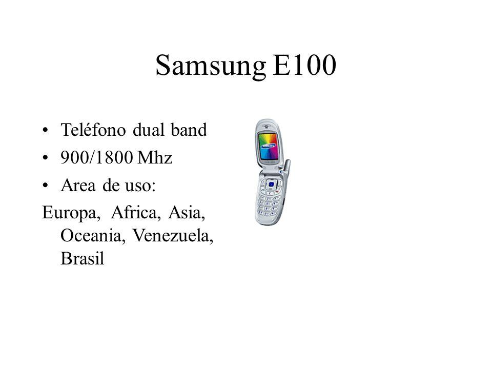 Samsung E100 Teléfono dual band 900/1800 Mhz Area de uso: Europa, Africa, Asia, Oceania, Venezuela, Brasil