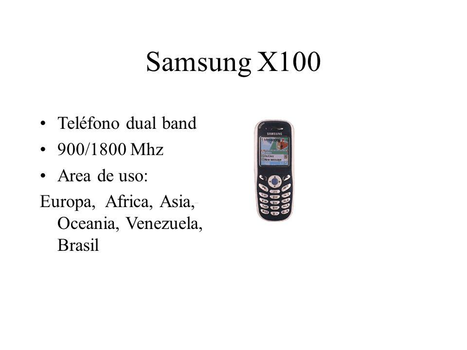 Samsung X100 Teléfono dual band 900/1800 Mhz Area de uso: Europa, Africa, Asia, Oceania, Venezuela, Brasil