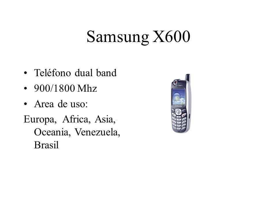 Samsung X600 Teléfono dual band 900/1800 Mhz Area de uso: Europa, Africa, Asia, Oceania, Venezuela, Brasil