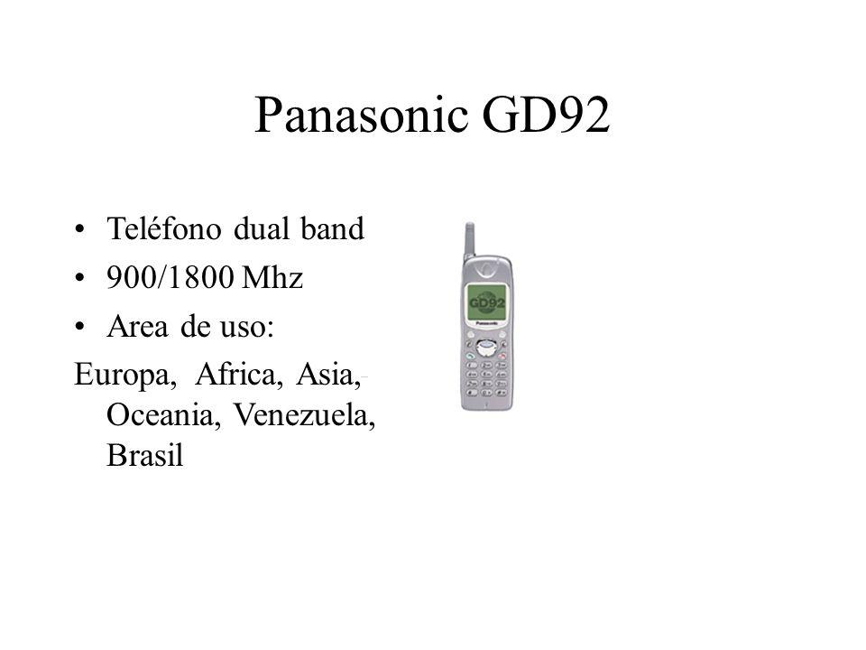 Panasonic GD92 Teléfono dual band 900/1800 Mhz Area de uso: Europa, Africa, Asia, Oceania, Venezuela, Brasil