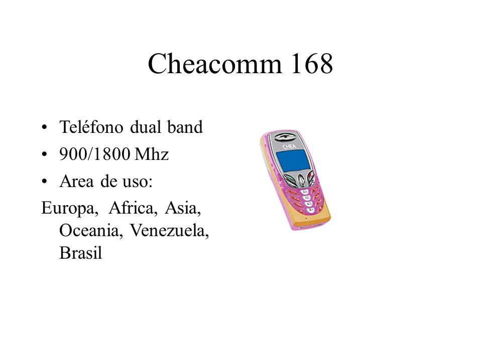 Cheacomm 168 Teléfono dual band 900/1800 Mhz Area de uso: Europa, Africa, Asia, Oceania, Venezuela, Brasil