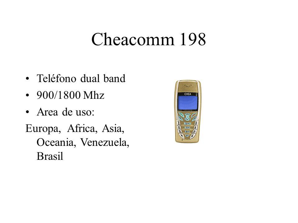 Cheacomm 198 Teléfono dual band 900/1800 Mhz Area de uso: Europa, Africa, Asia, Oceania, Venezuela, Brasil