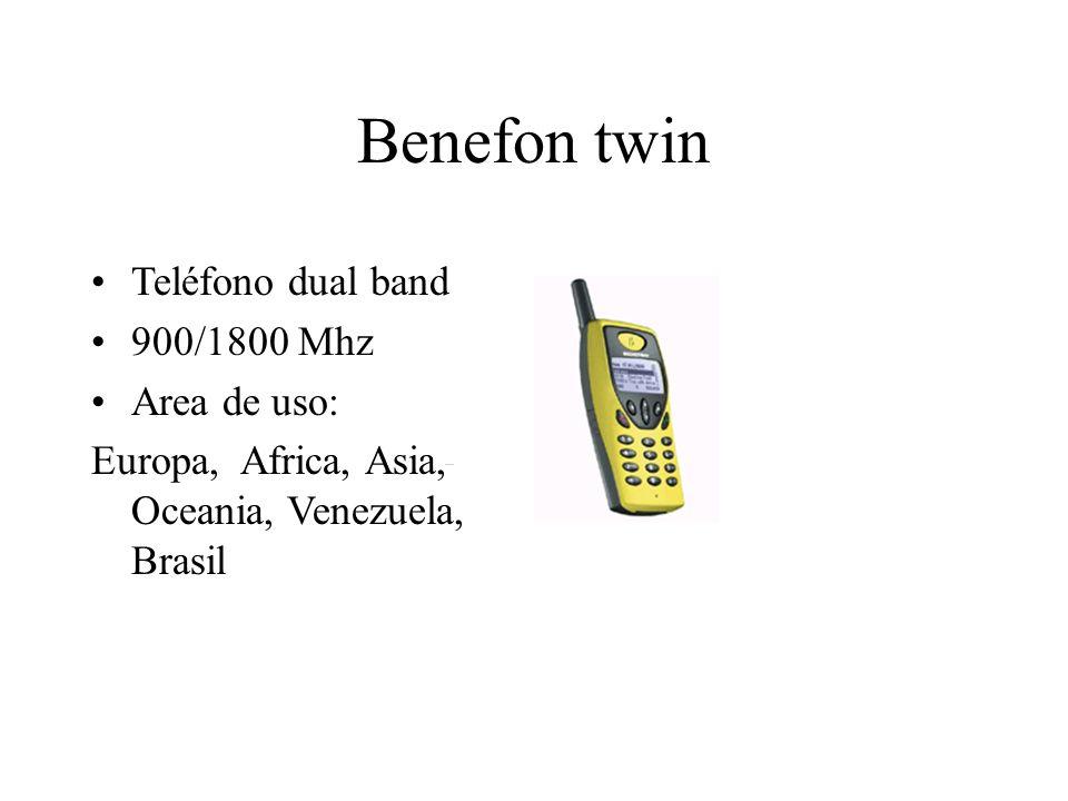 Benefon twin Teléfono dual band 900/1800 Mhz Area de uso: Europa, Africa, Asia, Oceania, Venezuela, Brasil
