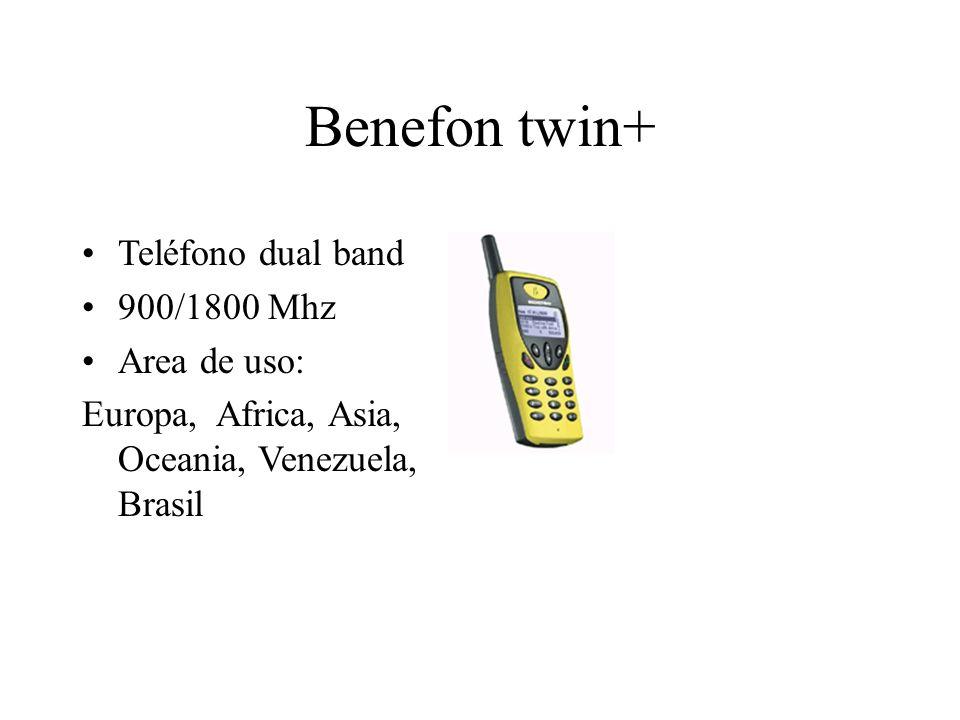 Benefon twin+ Teléfono dual band 900/1800 Mhz Area de uso: Europa, Africa, Asia, Oceania, Venezuela, Brasil