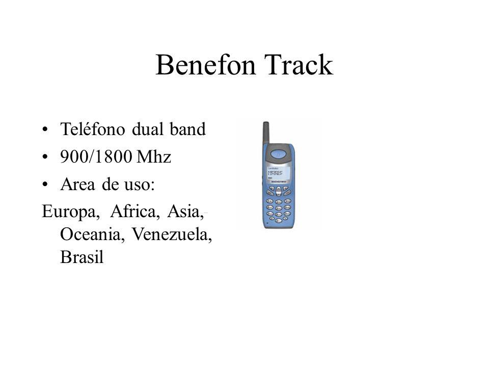 Benefon Track Teléfono dual band 900/1800 Mhz Area de uso: Europa, Africa, Asia, Oceania, Venezuela, Brasil