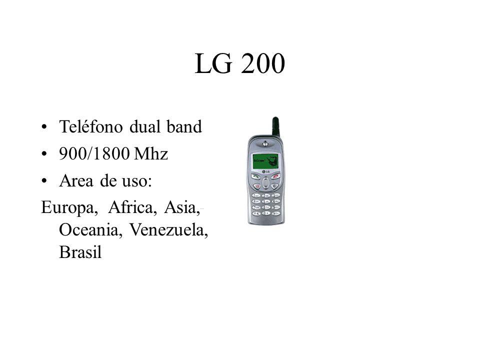 LG 200 Teléfono dual band 900/1800 Mhz Area de uso: Europa, Africa, Asia, Oceania, Venezuela, Brasil