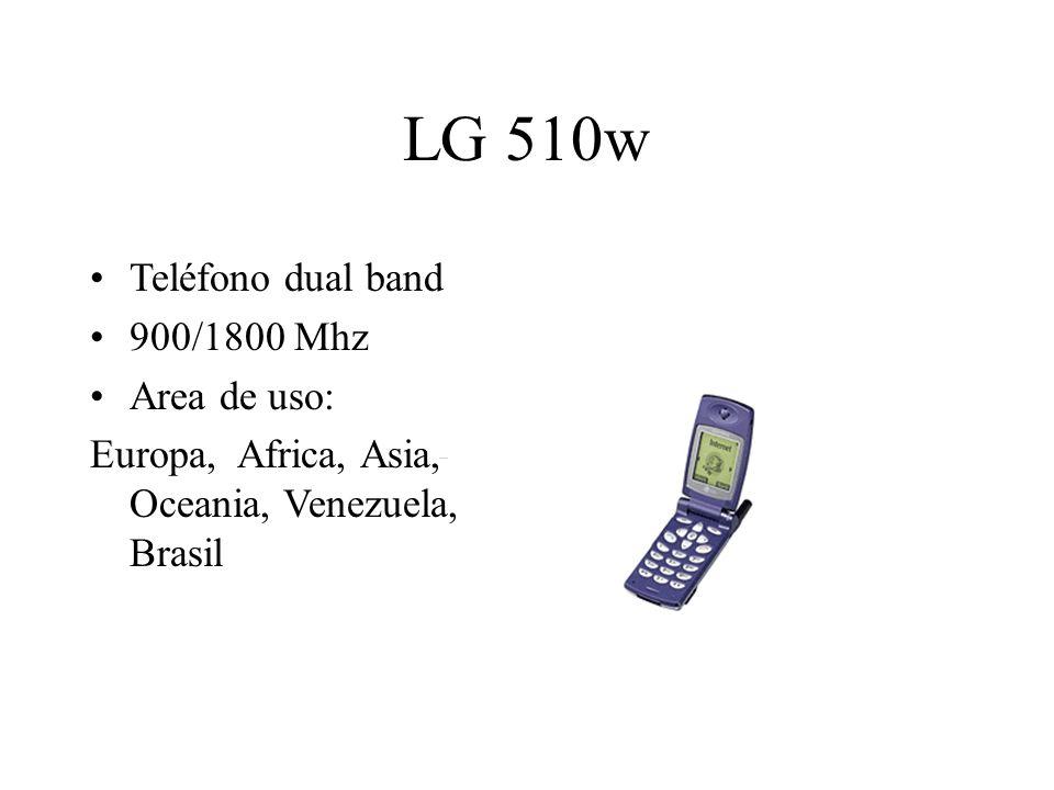 LG 510w Teléfono dual band 900/1800 Mhz Area de uso: Europa, Africa, Asia, Oceania, Venezuela, Brasil