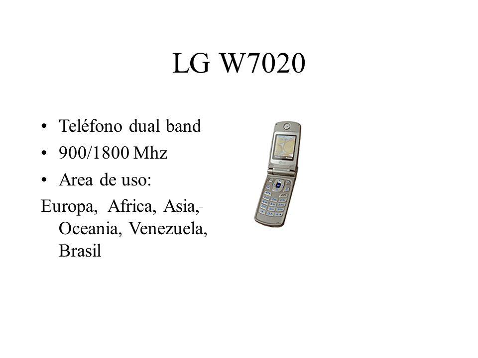 LG W7020 Teléfono dual band 900/1800 Mhz Area de uso: Europa, Africa, Asia, Oceania, Venezuela, Brasil