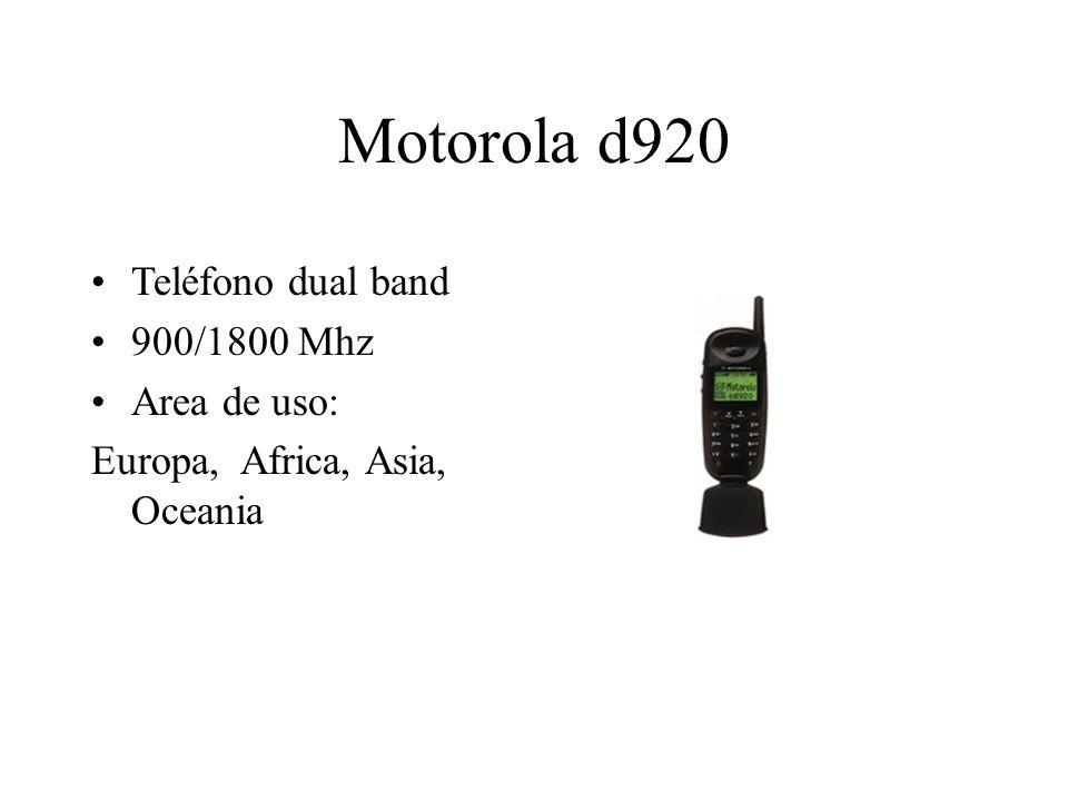 Motorola d920 Teléfono dual band 900/1800 Mhz Area de uso: Europa, Africa, Asia, Oceania