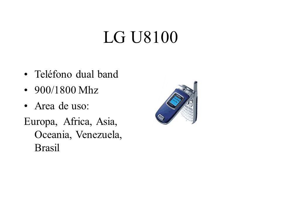 LG U8100 Teléfono dual band 900/1800 Mhz Area de uso: Europa, Africa, Asia, Oceania, Venezuela, Brasil