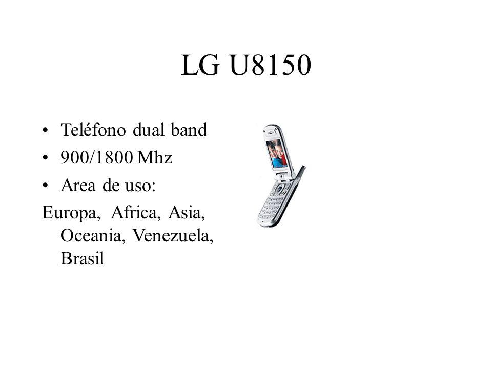LG U8150 Teléfono dual band 900/1800 Mhz Area de uso: Europa, Africa, Asia, Oceania, Venezuela, Brasil