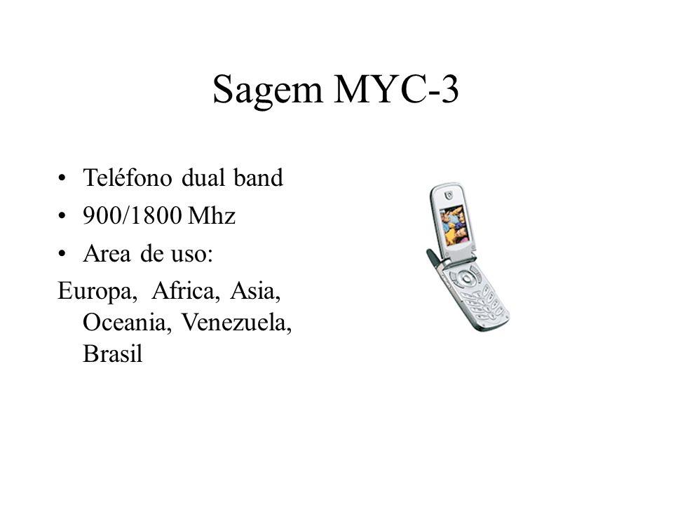 Sagem MYC-3 Teléfono dual band 900/1800 Mhz Area de uso: Europa, Africa, Asia, Oceania, Venezuela, Brasil