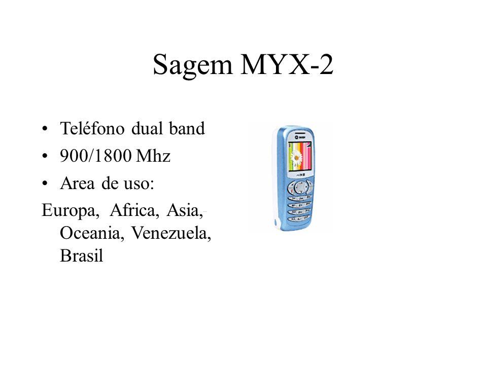 Sagem MYX-2 Teléfono dual band 900/1800 Mhz Area de uso: Europa, Africa, Asia, Oceania, Venezuela, Brasil