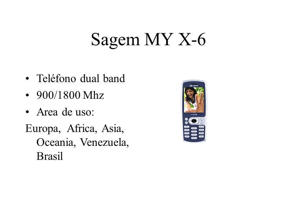 Sagem MY X-6 Teléfono dual band 900/1800 Mhz Area de uso: Europa, Africa, Asia, Oceania, Venezuela, Brasil