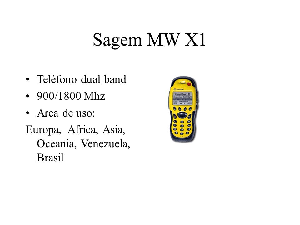Sagem MW X1 Teléfono dual band 900/1800 Mhz Area de uso: Europa, Africa, Asia, Oceania, Venezuela, Brasil