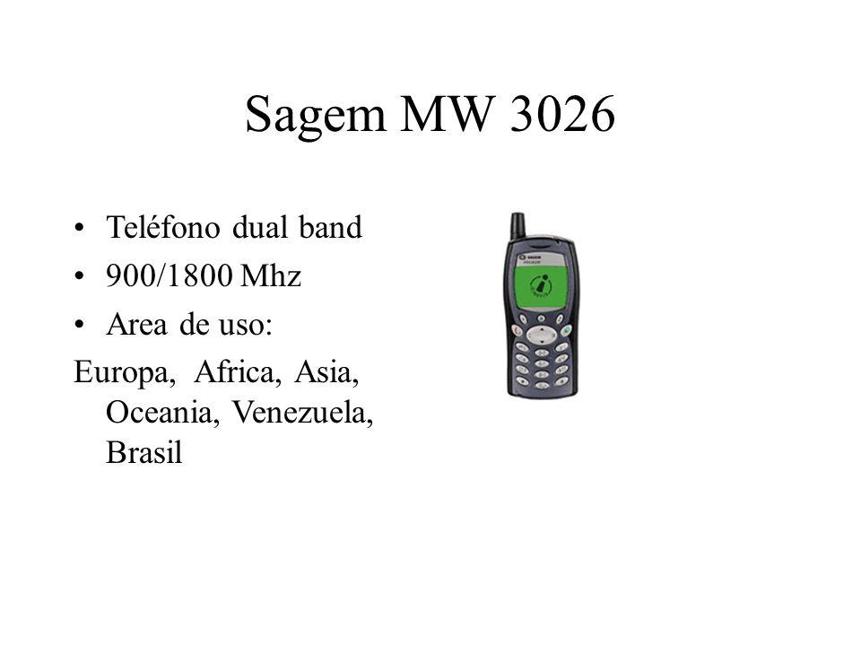 Sagem MW 3026 Teléfono dual band 900/1800 Mhz Area de uso: Europa, Africa, Asia, Oceania, Venezuela, Brasil